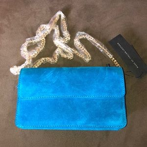 NWT Banana Rep Turquoise suede and leather clutch